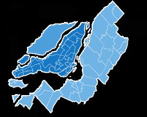 Carte géographique de Montréal, Laval et la Montérégie